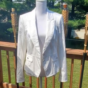 WHBM white 2 button lined suit jacket blazer 10